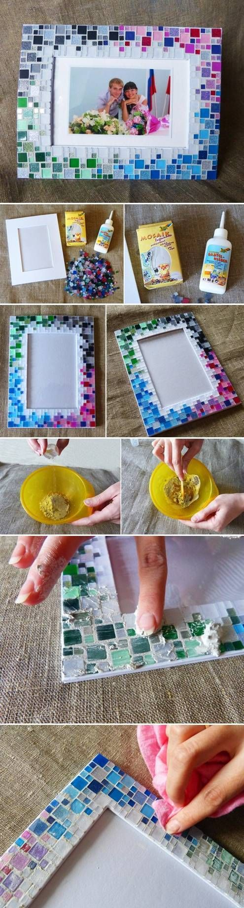 DIY Colorful Mosaic Picture Frame | Buzz + Inspired