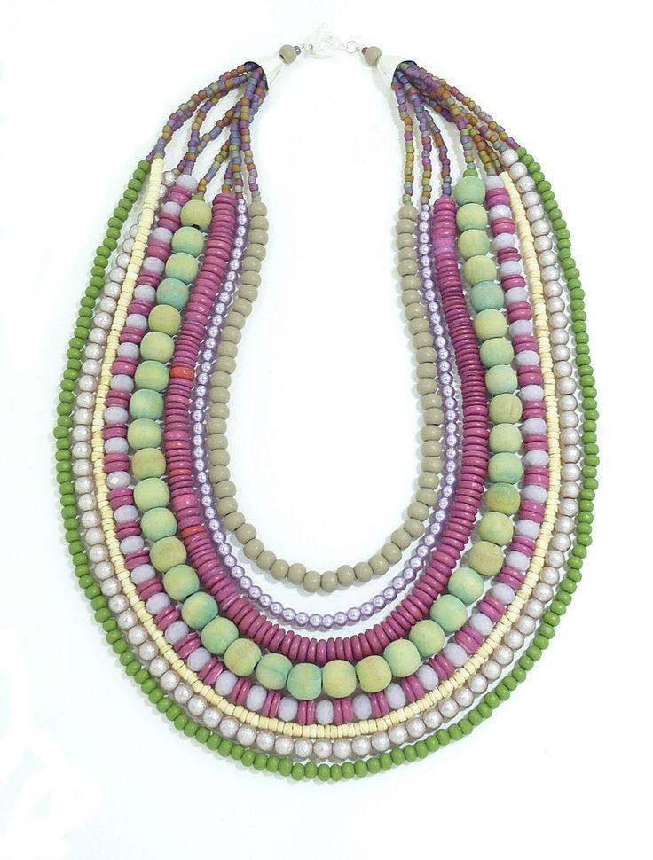 Gorgeous folksy bead bib from Marzipan Jewellery. Handmade in Cape Town. www.marzipan.co.za