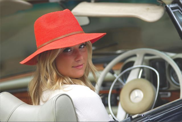The Kristy hat comes in a variety of colours; orange, lime, blue, fuschia, natural and camel. #fashion