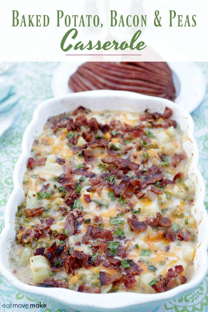 Try this baked potato bacon and peas casserole and perk up your potatoes in a whole new way. Absolutely delicious as a side dish for ham on Easter or Christmas. #ad #MightyFinePeas #IC