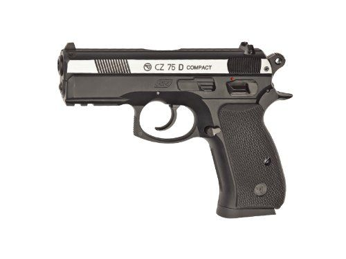 ASG Licensed CZ 75D Compact Dual Tone CO2 .177 BB Air Pistol - Black - http://www.airrifleforsale.com/air-pistols/asg-licensed-cz-75d-compact-dual-tone-co2-177-bb-air-pistol-black/ - The .177 Caliber CZ 75D Compact semi-automatic air pistol has authentic CZ markings and unique serial number. The front weaver rails give you the opportunity to mount a laser or flashlight. The rear sight is adjustable to secure better accuracy. The magazine holds 17 BB?s and also stores the 12g