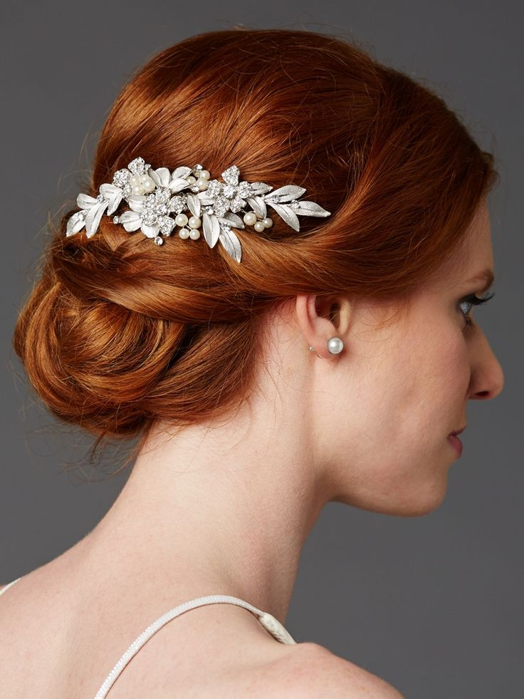Designer Bridal Hair Comb with Hand Painted Leaves and Pave Crystals