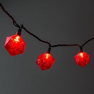 This 9 foot long string of 10 red d20 lights will set the atmosphere for your next campaign. String a few together to liven up your Christmas tree.