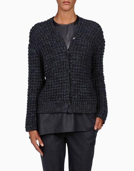 Diamond stitch sweater in shaded effect featherweight cashmere
