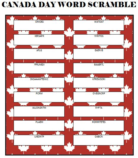 Canada Day Word Scramble (Free Printable) #CanadaDay http://www.momsandmunchkins.ca/2014/06/12/canada-day-word-scramble/