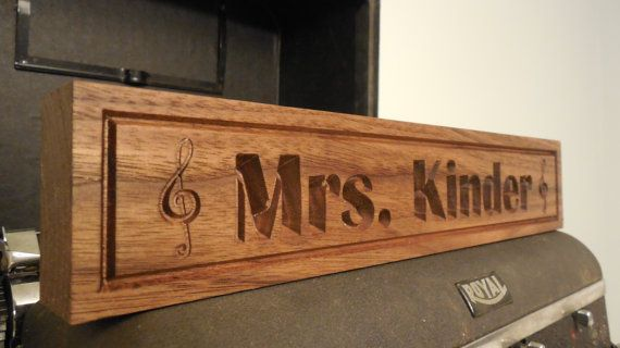Desk Name Plate Music Notes Walnut Plaque by TopGrainWoodShop