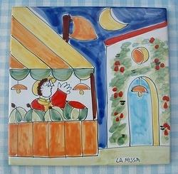 "Tegel/Onderzetter 20 x 20 cm  ""Taffarello""  Webshop Sicilian Ceramica  www.russoenzo.nl"
