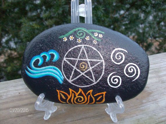 FREE SHIPPING USA - Elemental and Pentacle Altar Stone/Home Protection Stone
