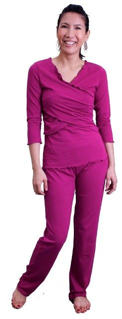 Annee Matthew Criss Cross Maternity  Nursing Pajama Set in berry has a criss cross design for maternity or nursing wear. Sleep in these comfortable pajamas at any stage of pregnancy and while nursing. This pajama set includes criss cross maternity/ nursing top and matching long pants