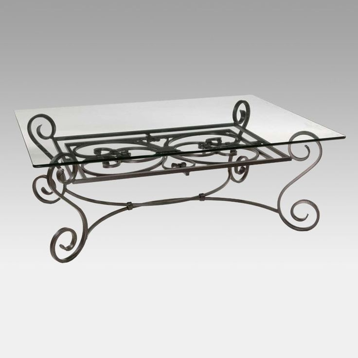 Stratford Coffee Table Wrought Iron Base $1300 48W X 36D X 17H Inches
