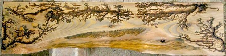 Fractal Lichtenberg Wood Burning Bed Backboard.