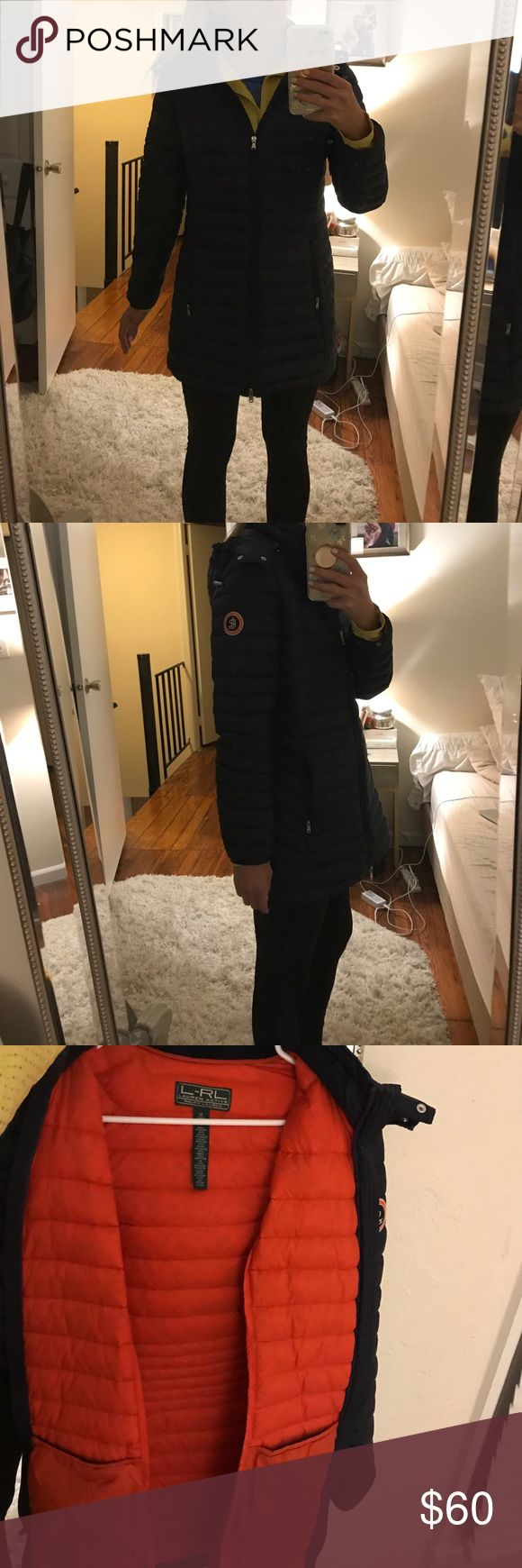 Ralph Lauren winter puffer jacket Navy blue with orange inside, knee length puffer jacket (I'm 5'8 so that's why it looks short) has detail on side that looks like Canada goose Ralph Lauren Jackets & Coats Puffers