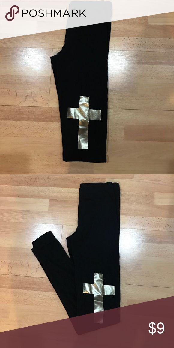 forever 21 leggings Never worn. Ankle length leggings with metallic gold crosses on the knees. Forever 21 Pants Leggings