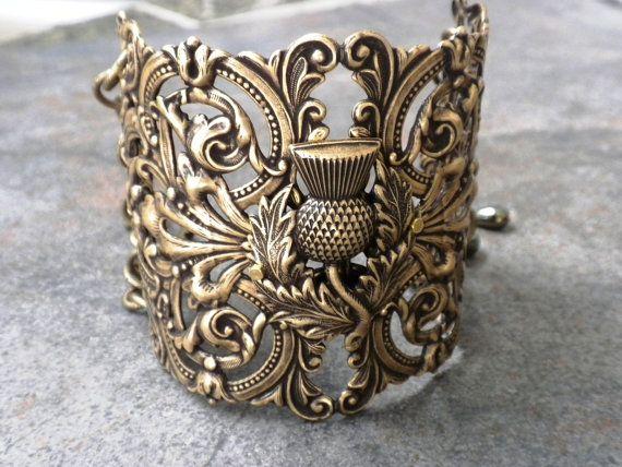 Extra Wide Scottish Thistle Cuff Bracelet