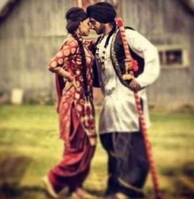 Simple yet cute Punjabi couple - for more follow my Indian Fashion Boards :)