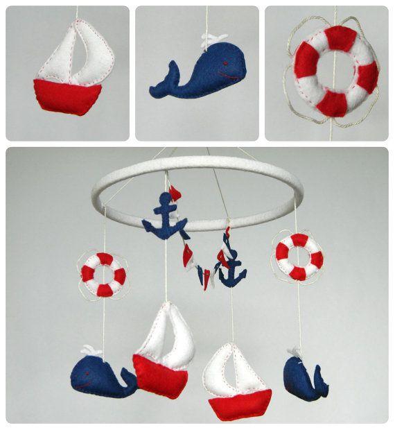 $63  CIJ sale Nautical sailboat  baby mobile - Felt whales, sailboats, anchor, lifebuoy, mini bunitng navy blue, red and white - Nursery decor