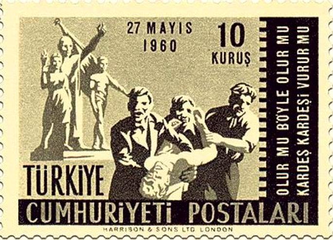27 Mayıs Darbesi (1960) döneminde , üzerinde; Plevne Marşı dizeleri bulunduran pul.