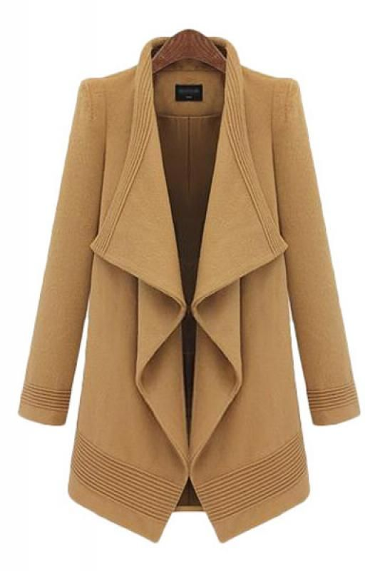 Love this Coat! So Pretty! Irregular Draped Collar Long Sleeve Camel Tweed Winter Trench Coat #Winter #Coat #Fashion