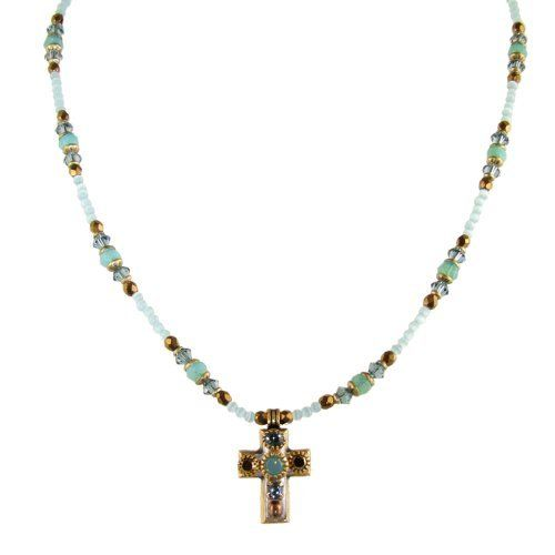 Michal Golan Small Light Blue and Gold Cross with Eye-catching Centerpiece and Beaded Chain Michal Golan. $85.00. Intricate designs by Michal Golan. Necklace. Handmade in the USA. Swarovski Crystals. Cross Necklace