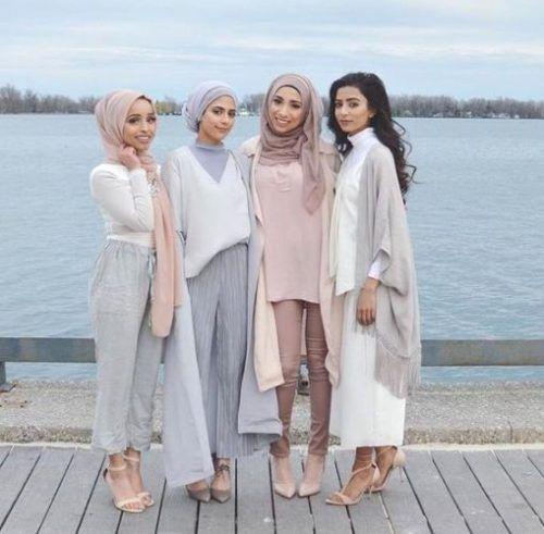 pastel neutral hijab looks- Hijab lookbook ideas http://www.justtrendygirls.com/hijab-lookbook-ideas/