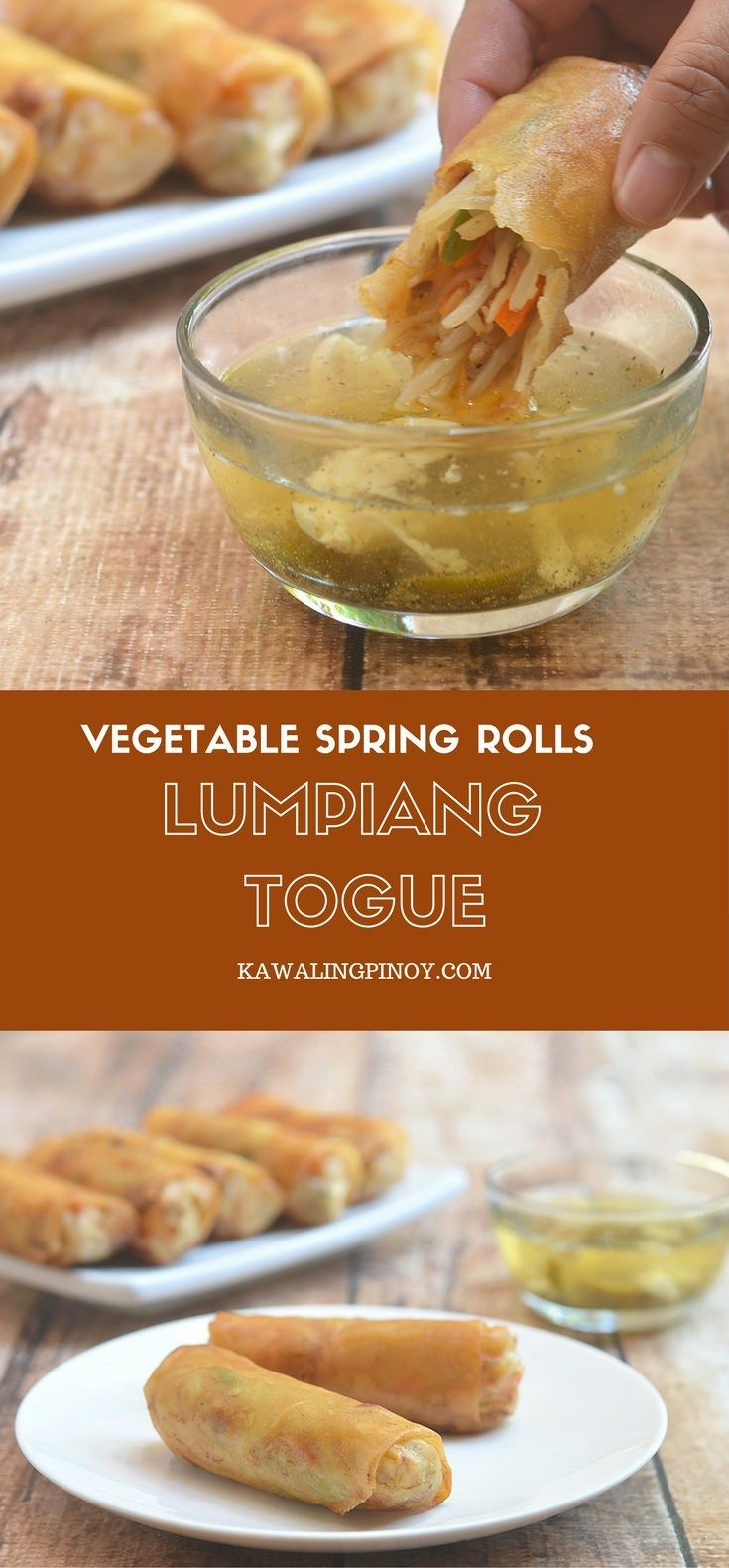 Lumpiang Togue filled with bean sprouts, carrots, green beans, pork, and shrimps. Golden, crunchy and delicious, these vegetable spring rolls are the perfect snack or appetizer!