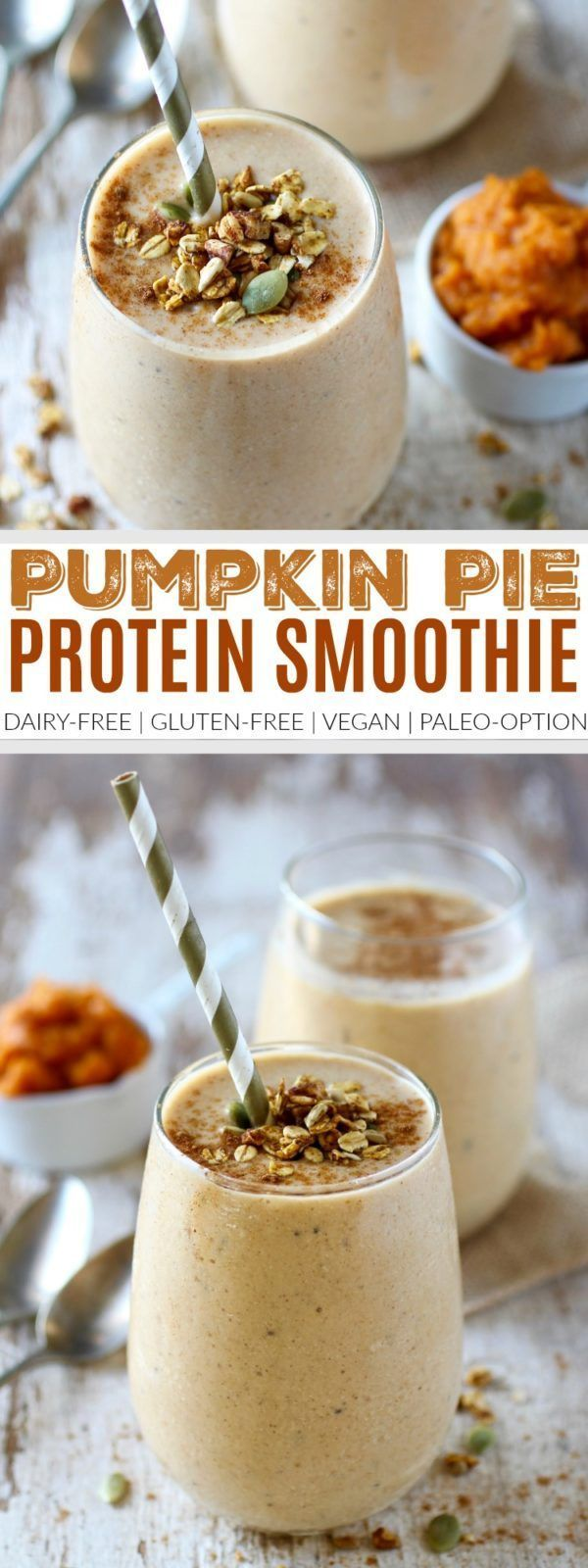 Pumpkin Pie Protein Smoothie | healthy smoothie recipes | homemade smoothie recipes | pumpkin flavored smoothie | dairy free smoothie recipe | gluten free smoothies | vegan smoothie recipes | paleo smoothie recipes | fall inspired recipe ideas || The Real Food Dietitians