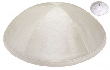 Ivory Deluxe Six-Panel Satin Wedding Kippah $42 per dozen. Free personalization with purchase of six dozen or more.