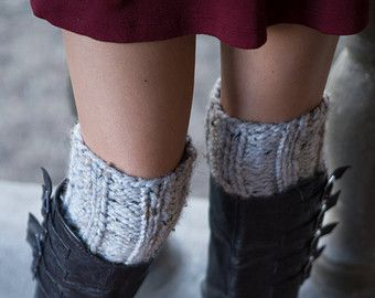 Marble Gray Boot Cuffs - Knitted Boot Cuffs - Legwarmers - Half Sock - Grey - Women - Teen Girls - Customize Your Order