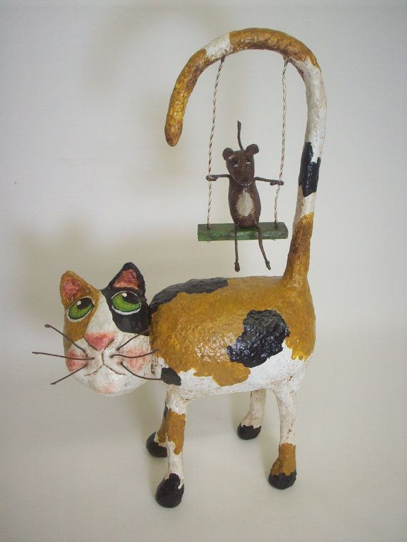 Primitive paper mache calico folk art cat container with for Paper mache art and craft