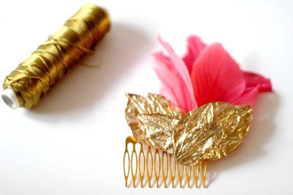 Peine de oro y coral, peine del pelo de la boda, tocado de boda, tocado de novia, peine de oro, oro accesorio nupcial, accesorio de la boda