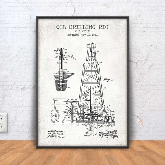 OIL DRILLING RIG patent print drilling rig poster by PrintPoint