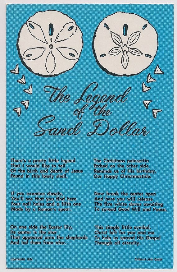 """Legend of the Sand Dollar (I've become fond of this little shell & this """"legend"""" makes it even more perfect!)"""