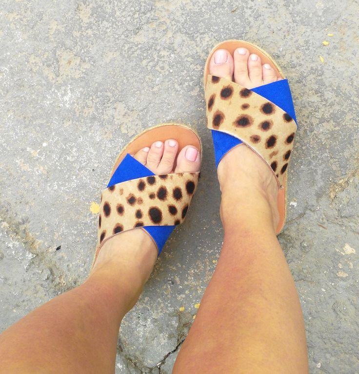 amvrosia collection/aelia greek sandals/greek designer/criss cross/blue/animal print/Slippers/flatform/platform by aeliasandals on Etsy