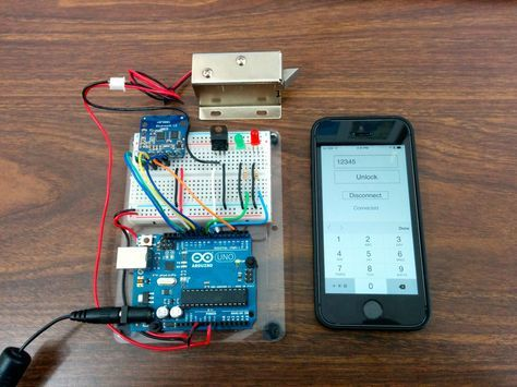 Open a solenoid lock using the Bluetooth Serial Plugin and a Bluetooth LE board.