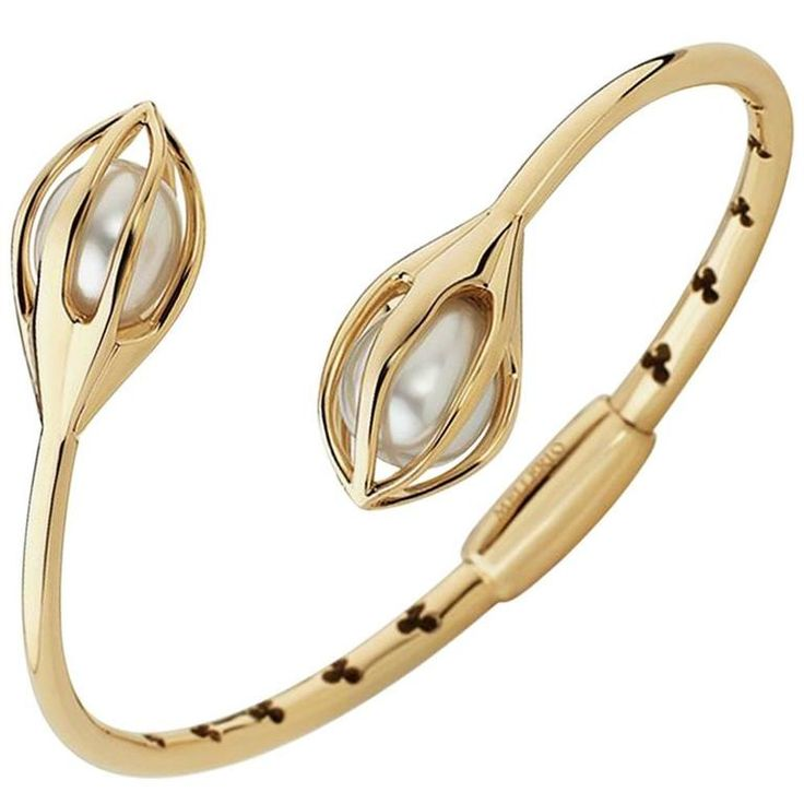 Mellerio Bourgeons de Lys Akoya Pearls Gold Bracelet  | From a unique collection of vintage bangles at https://www.1stdibs.com/jewelry/bracelets/bangles/