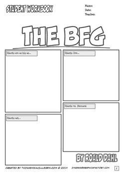 """The BFG Workbook has """"comic style"""" worksheets and novel study activities for the story by Roald Dahl. It includes; cover page with a background knowledge activity, vocabulary (14 pages), questions (6 pages), similes (1 page), creative activities (5 pages), puzzles (2 pages), and word problems (1 page)."""