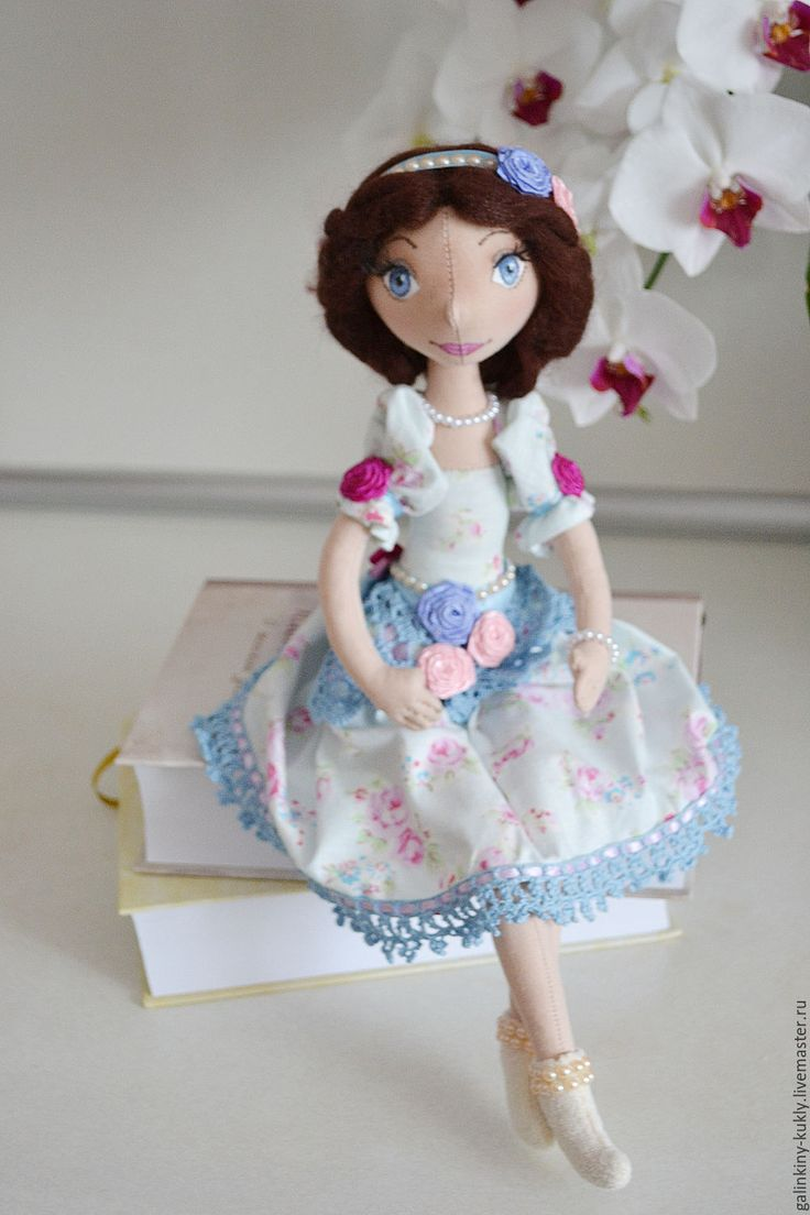 Купить Принцесса Розочка - голубой, текстильная кукла, кукла ручной работы, кукла из ткани