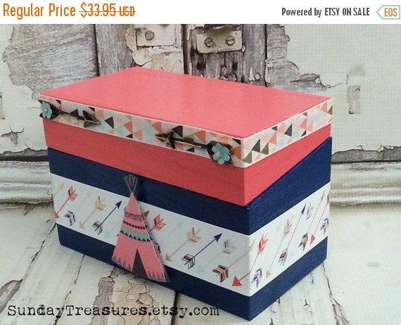 ARROW Recipe Box / Craft Box / Organizing Storage Box / Wood Trinket Memory Keepsake Box / Coral Navy / Hippie Boho Tribal & Best 77 Boxes Trunks Baskets images on Pinterest | Craft rooms ...