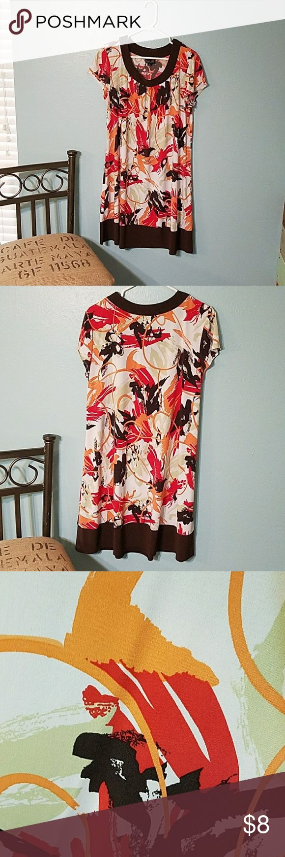 Scarlett dress Coral-y peach, red, khaki, and brown design. Cute loose fit. Scarlett Dresses Midi