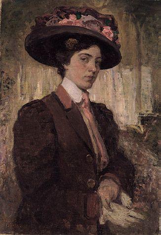 Isaac Israëls - Portret van een mooie jonge vrouw met grote bloemen bezette hoed en rood-bruine jas