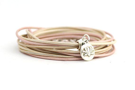Lotus Yoga Bracelet Metallic Pearl Cream Rose Wrap by cardioceras