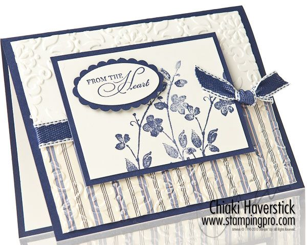 blue,gray,white pinstripe: Stampingpro Com, Colour Combinations, Vintage Wallpapers, Watercolor Trio, Blue Gray Whit Pinstriping, Stripes Paper, Stampin Up, Simple Cards, Blue Whit Combos