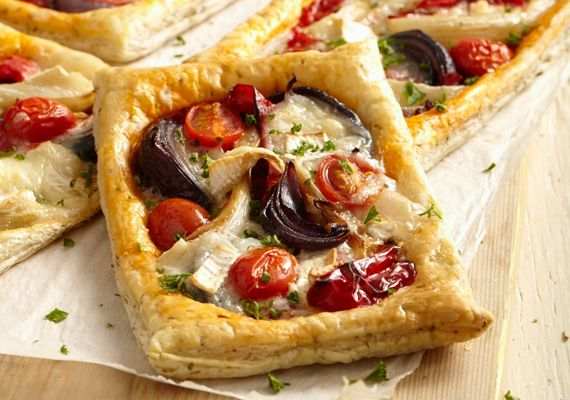 Roasted vegetables and goat cheese puff tart