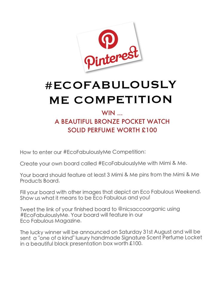 #EcoFabulouslyMe - create one board for a chance to win a handcrafted bronze perfume pocket watch worth £100.