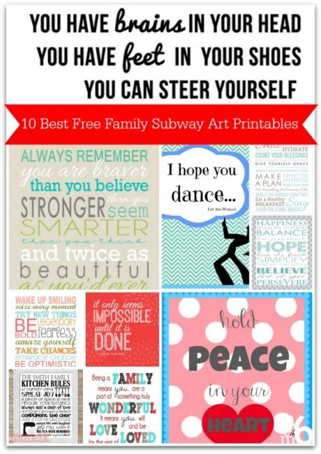 10 Best Free Family Subway Art Printables Collage- these will inspire you and your kids!
