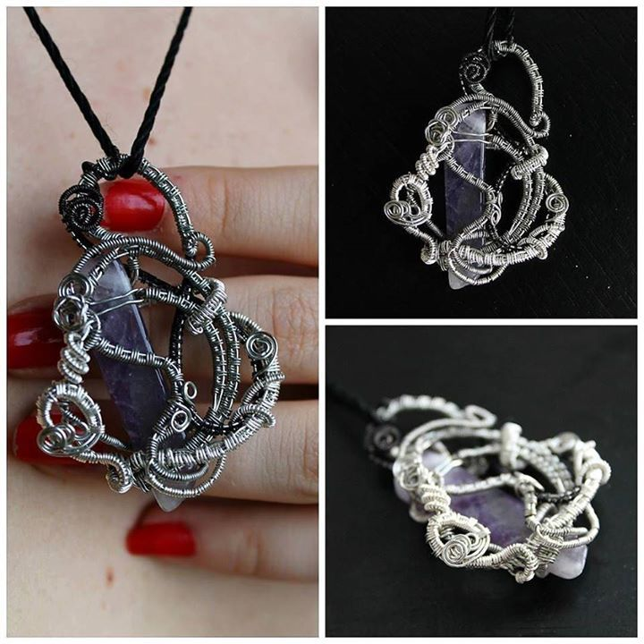 Amethyst pendant. Silver wire with amethyst gemstone made as a gift for a special friend _