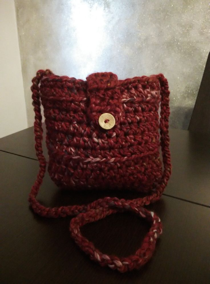 crochet shoulder purse in crimson with liner and coconut button by yrozaf on Etsy