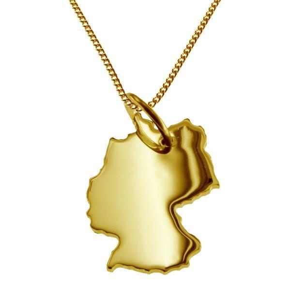 Absolut tolle hochwertige Halskette Panzerkette 1,2 mm 50 cm lang mit Kettenanhänger in der Form der Deutschland Landkarte in massiv 333 Gelbgold ! Der Anhänger ist mit einer großen Öse versehen, sodass dieser auch mit einer etwas dickeren Halsket...