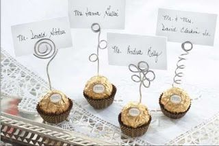 "My Hobbies, My Leisure Activity, My Pastime: Wedding Favors: Ferrero Rocher10 Rocher Chocolates 12-14'Armature wire, or other 16 gauge wire such as floral, copper or craft* Wire cutters 1 pencil, wooden spoon, or dowel Double stick tape 10 standard sized Place cards or paper measuring 2 1/2"" x 1"" **"