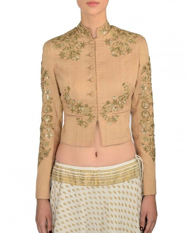 Printed Ivory Lengha with Jacket Blouse